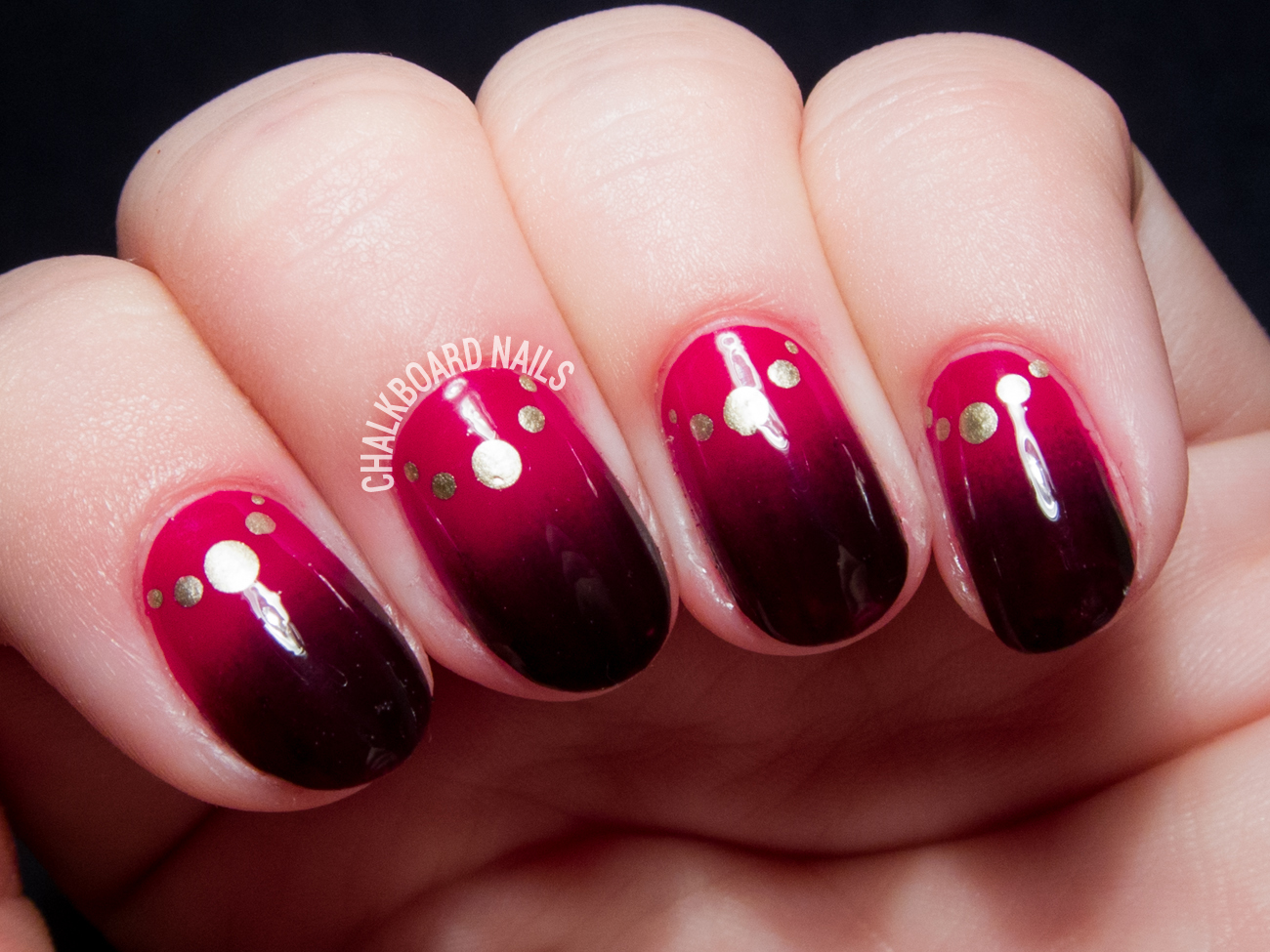 Bordeaux gradient with jewelry half moons by @chalkboardnails