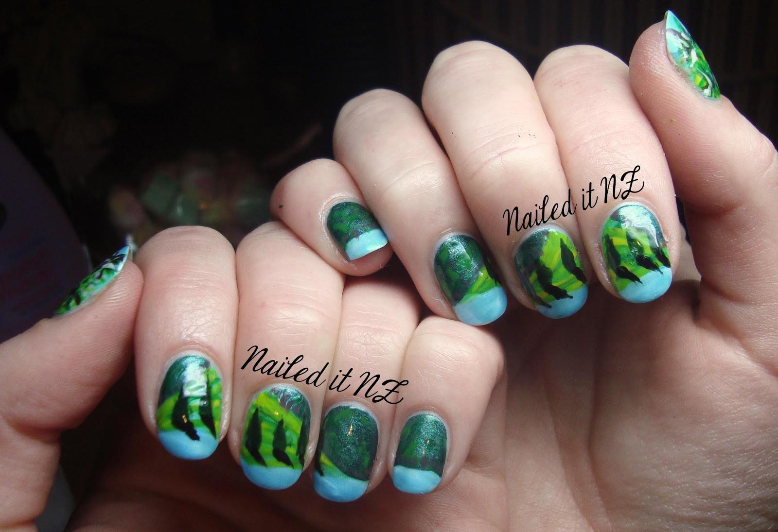 Landscape nail art - guest post on The Little Canvas