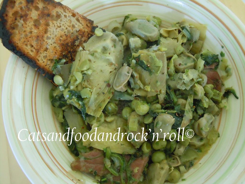 spring vegetable stew (vignole, o vignarola) di jamie oliver
