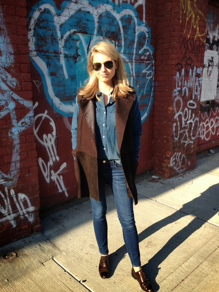 Ray-Ban aviators Madewell denim Alexander Wang sleeveless coat Marc by Marc brogues
