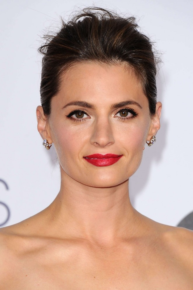 Stana Katic is stunning in a strapless dress at the 2015 People's Choice Awards in LA