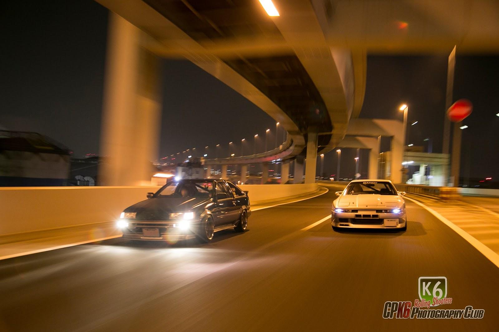 Toyota Corolla Levin AE86, Toyota Supra A70, samochód z dusza, kultowy, pasja, tuning, nocna jazda, Japonia, JDM, nocne zdjęcia