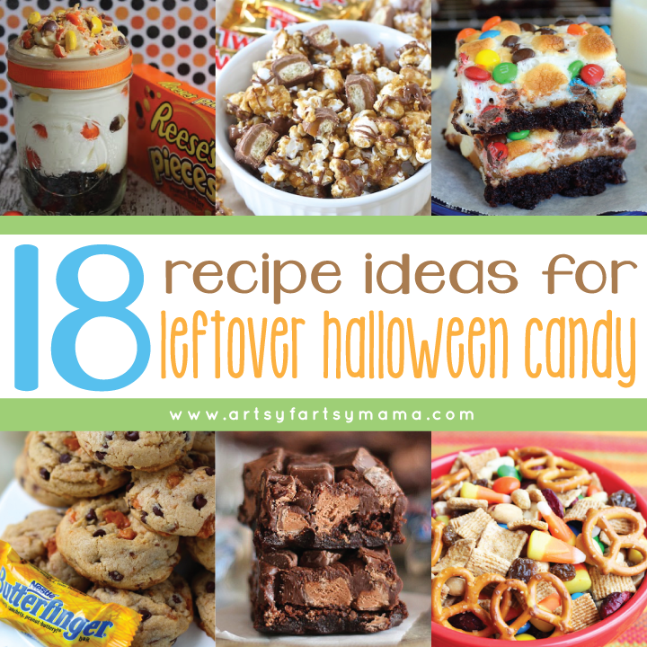 18 Recipe Ideas for Leftover Halloween Candy at artsyfartsymama.com #recipe #candy