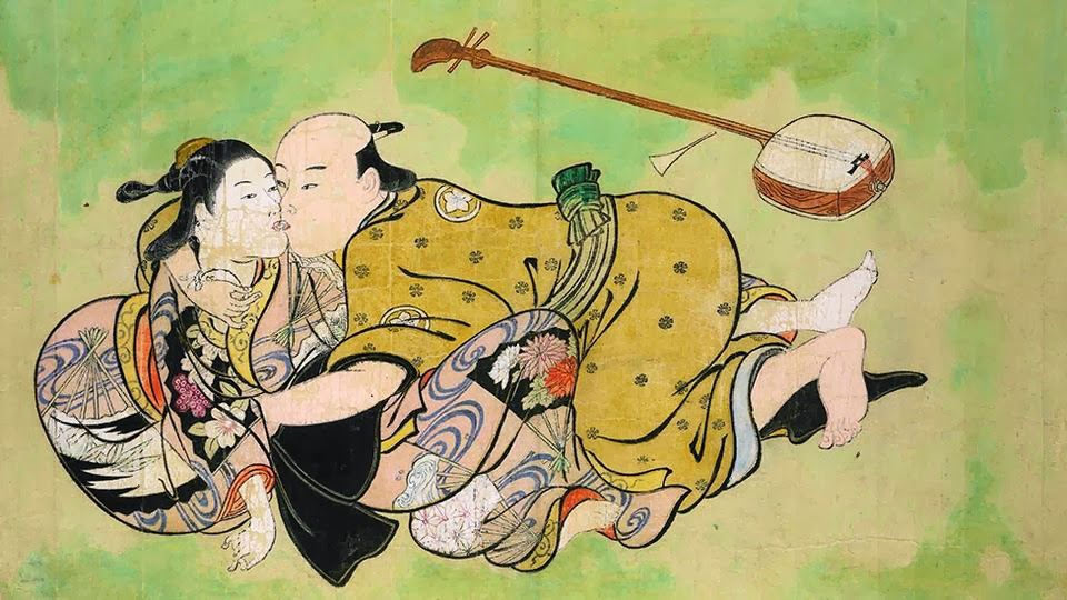 Nishikawa Sukenobu - sexual dalliance between a man and a geisha.