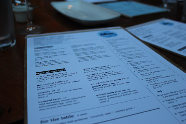 Menu at The Blue Room, Cambridge, Mass.
