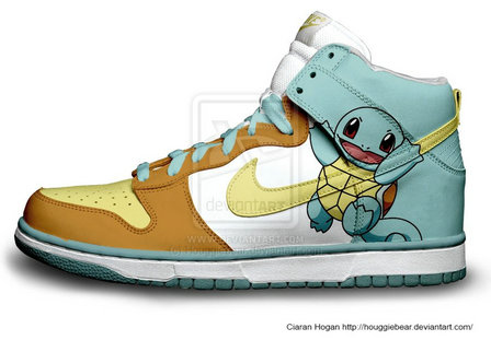 Cartoon Nike Dunks Squirtle Nikes High Tops Sneakers , this squirtle nike  dunk is one funky and cute squirtle shoes .
