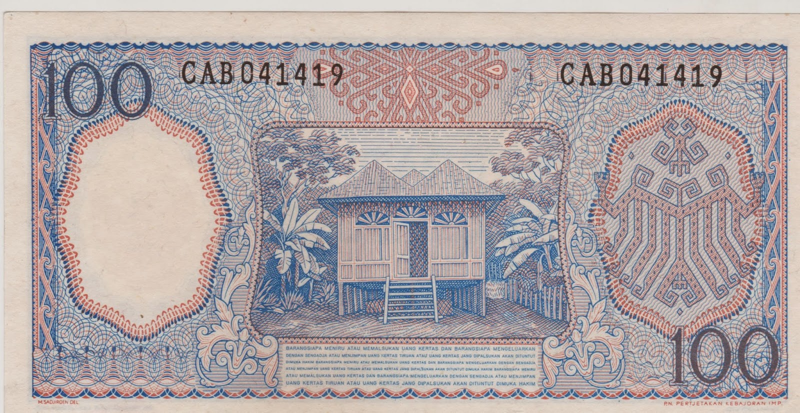 100 Rupiah Pekerja Biru