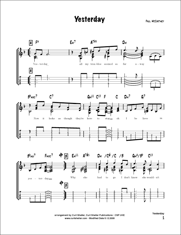UkuleleScores: Beatles , Yesterday ukulele tabs and scores