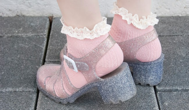 juju, glitter heel sandals, jelly shoes