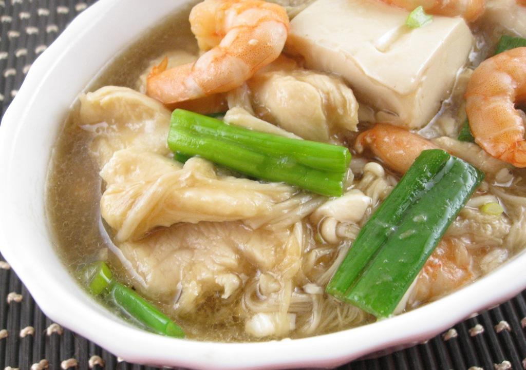 My Asian Kitchen: Braised Tofu(Bean Curd) with Enoki Mushroom,Shrimp ...