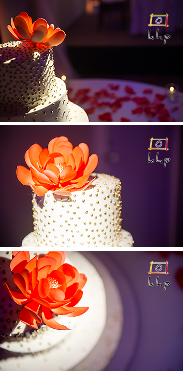 A few alternative shots of a wedding cake
