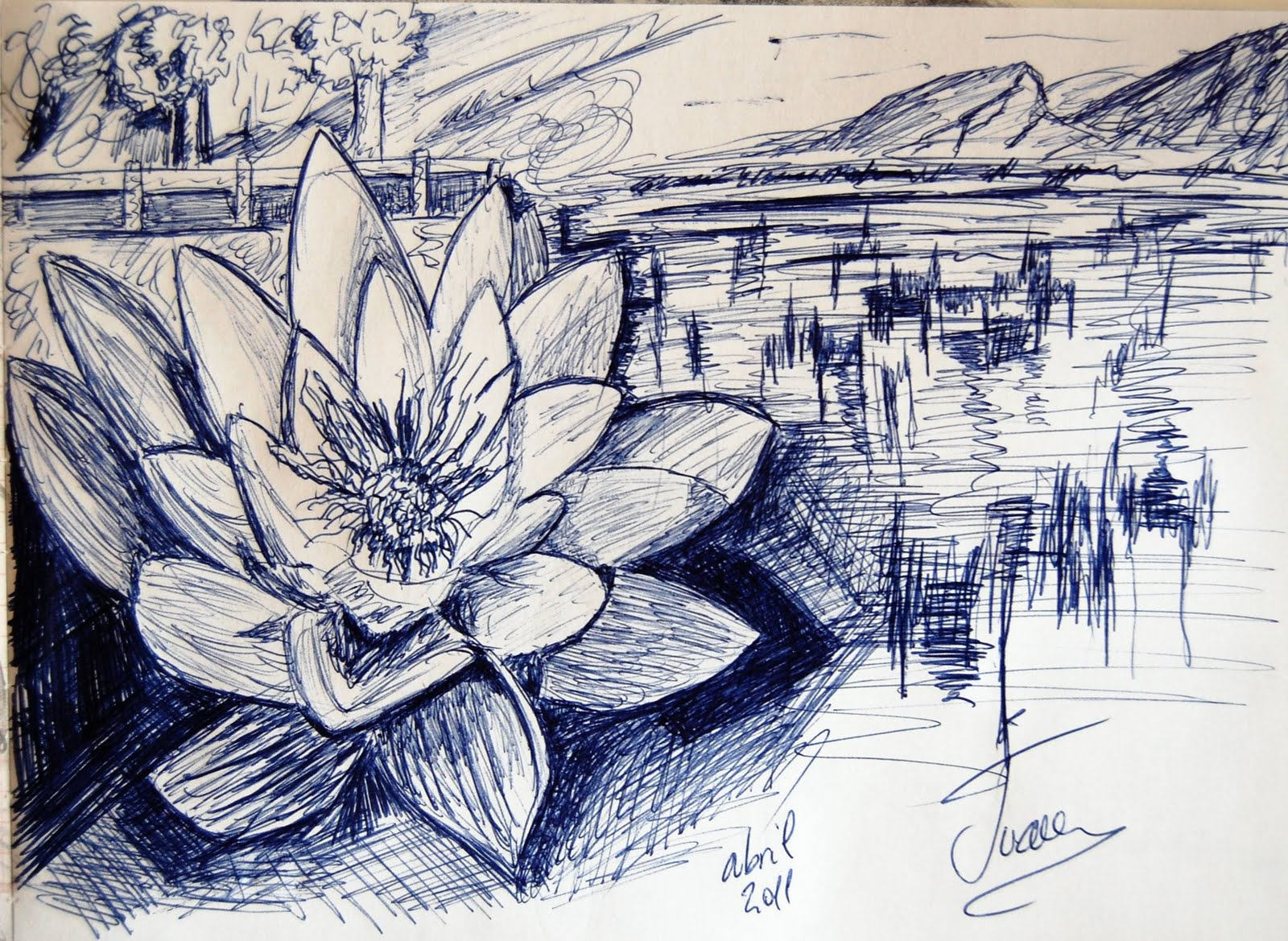 dibujo acuarela oleo  paisaje con loto a boligrafo