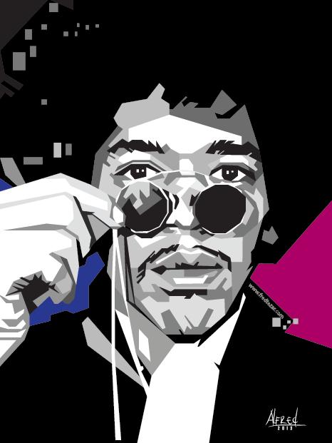 Jimi Hendrix Skinetone Vector tanpa kurva