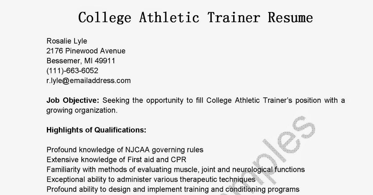 Athletic Training college paper format sample