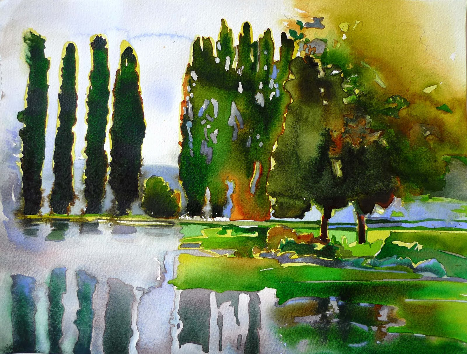 paintings small watercolor of france