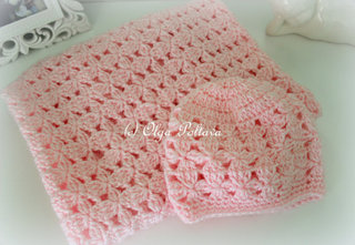 Pink Clusters Baby Blanket and Hat Patterns, $5.49