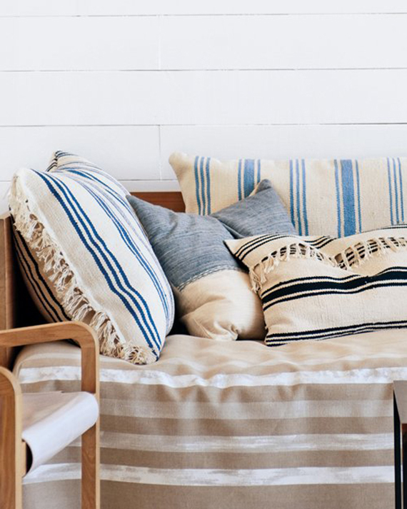 The necessary nautical stripes in blues, black and beiges on thick woven textiles.