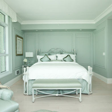 calming and lady like shades of sea foam make this room unique