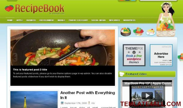 Free Gray Green Recipes Cooking Wordpress Theme