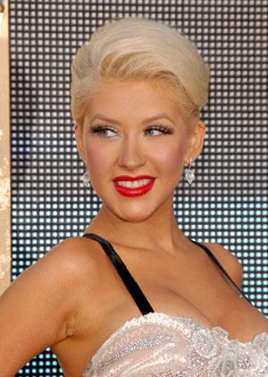 Christina Aguilera Pompadour-esc Hairstyle.