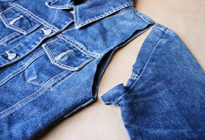 Джинсовая жилетка своими руками из джинсовой куртки 402