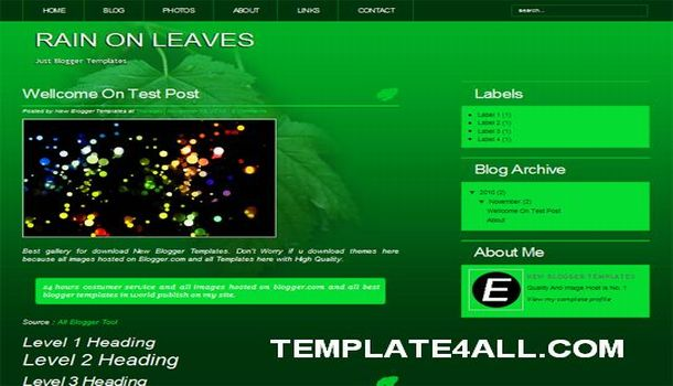 Dark Green Leaves Blogger Template