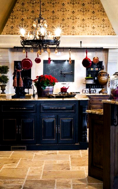 Ideas French Country kitchen with a distressed black kitchen island