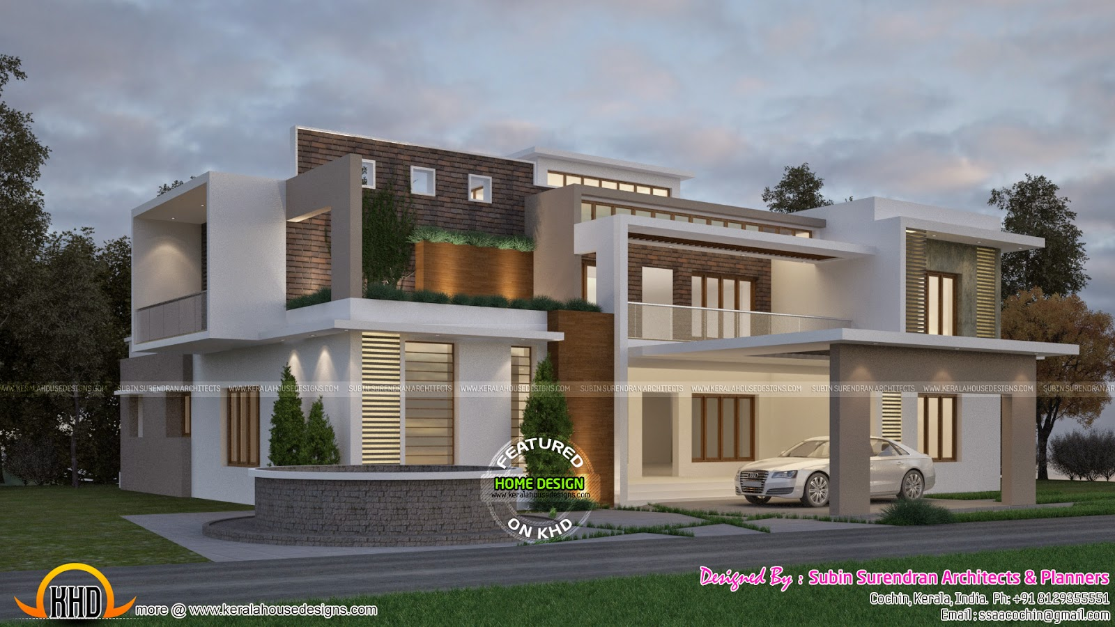 Classic contemporary house kerala home design and floor for Modern kerala style house plans with photos