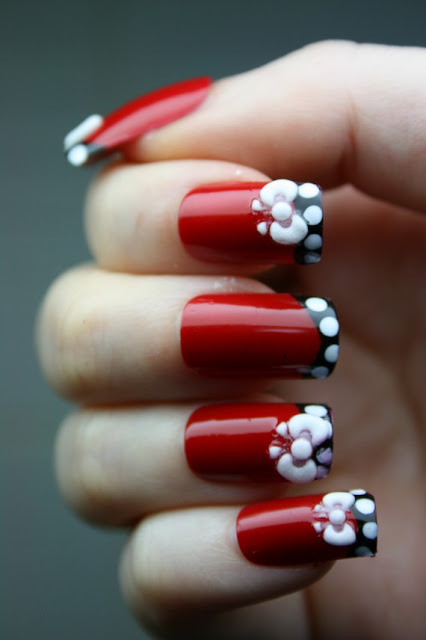 Gorgeous Red Nails with White Flowers and Black Border