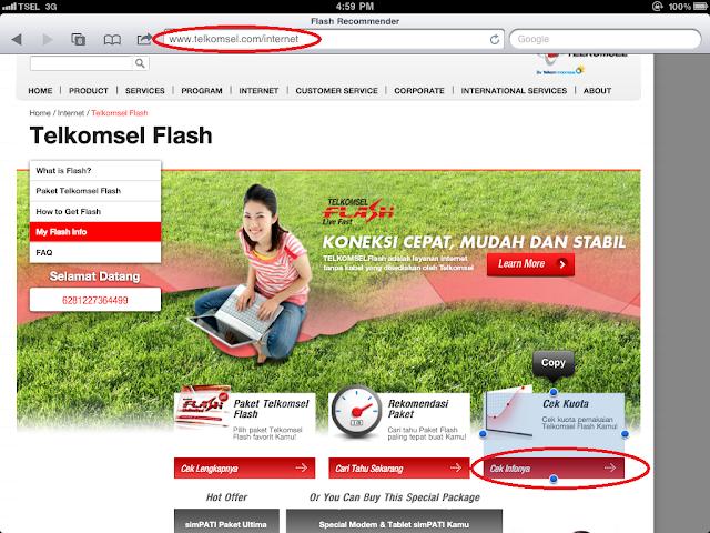 setelah masuk ke www.telkomsel.com/internet , klik di bagian bawah ...