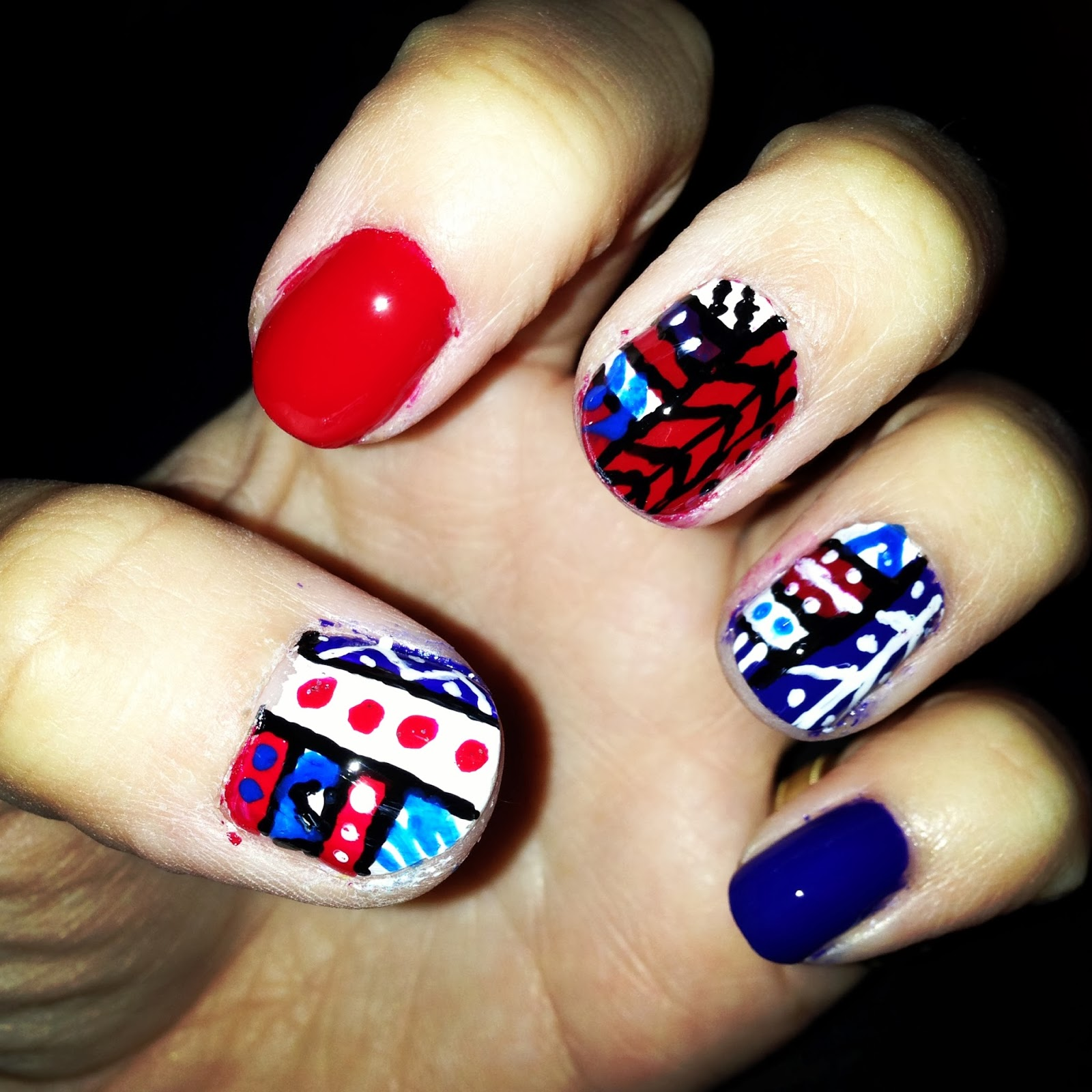 DIY Tribal Nail Art - Jersey Girl, Texan Heart