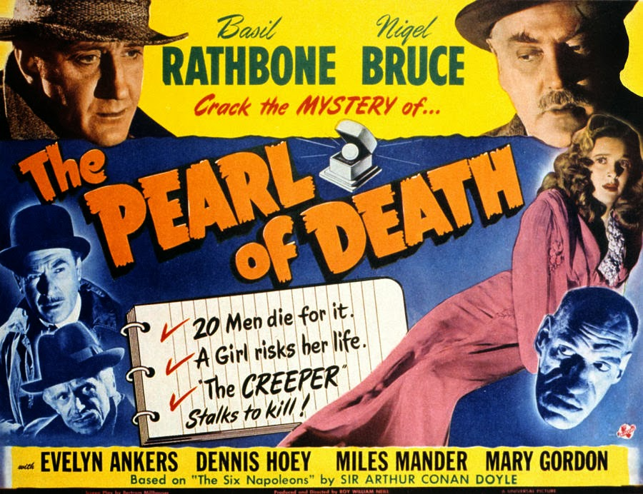 Sherlock Holmes in The Pearl of Death Movie Poster Starring Basil Rathbone, Nigel Bruce, and Rondo Hatton