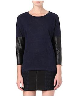 Sandro leather sleeve top