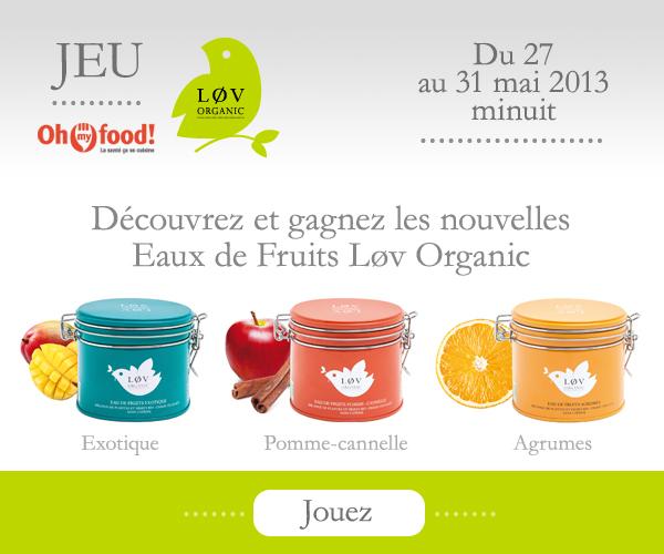 Des lots de 3 boîtes d'Eaux de Fruits Lov Organic