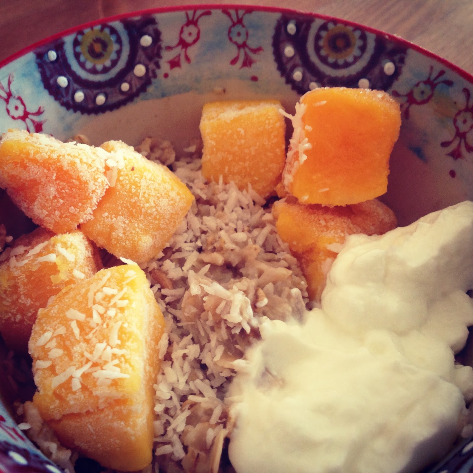 Coconut Mango Oatmeal with Greek Yogurt