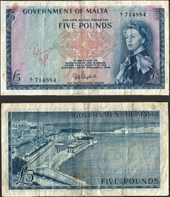 QEII Maltese Five Pound Note