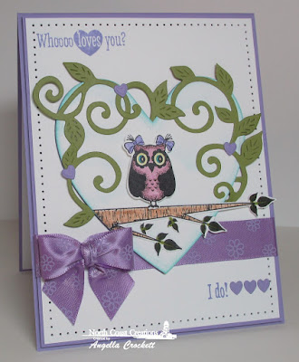 NCC Who Loves You?, NCC Custom Owl Family Dies, NCC Custom Flourished Vine Die, ODBD Custom Ornate Hearts Dies, ODBD Custom Umbrella Dies, ODBD Custom Clouds and Raindrops Dies, Card Designer Angie Crockett
