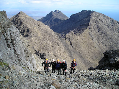 Kendal Mountaineering Services group on the Cuillin Ridge, Isle of Skye.