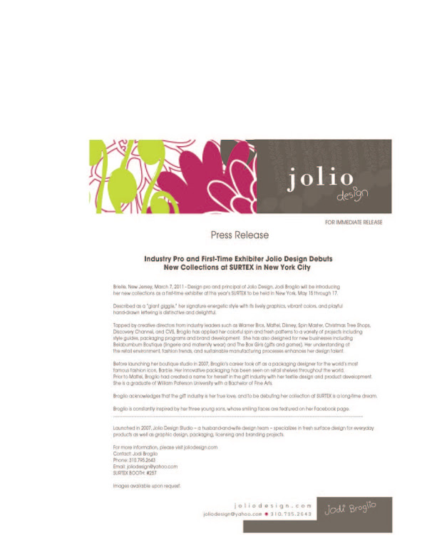 jolio design press release