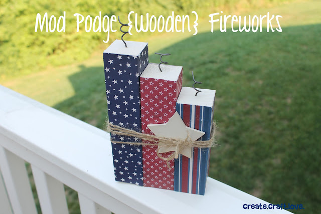 Mod Podge Wooden Fireworks via createcraftlove.com #modpodge #fourthofjuly #fireworks