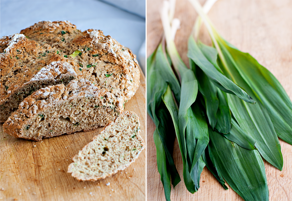 diptych of Irish Soda Bread made with Ramps and Wild Leeks (ramps)