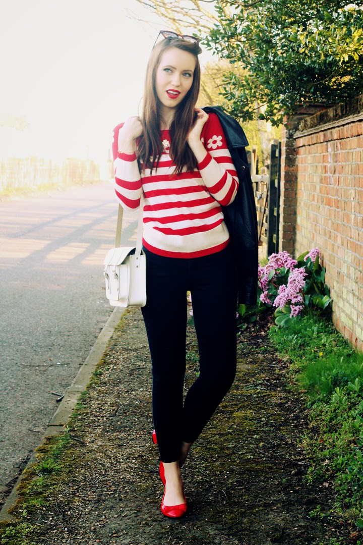 UK fashion blogger red stripes jeans chic