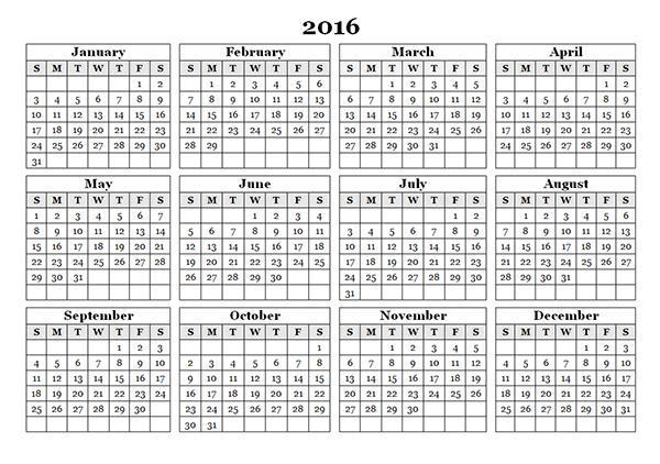 Free]^ Printable Calendar 2016: 2016 Schedule Calendar Template Word ...