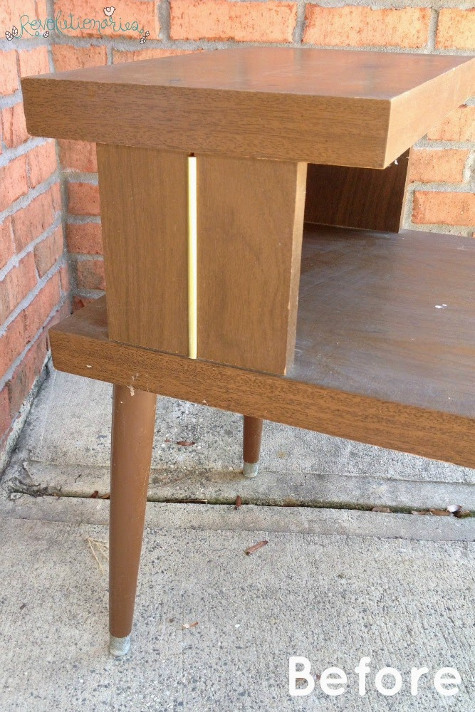 Before and After: Red Retro Side Table with General Finishes Milk Paint!
