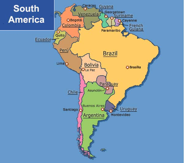 south america political map simple