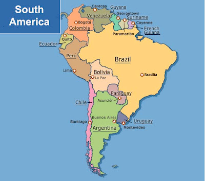 Simple political map of South America