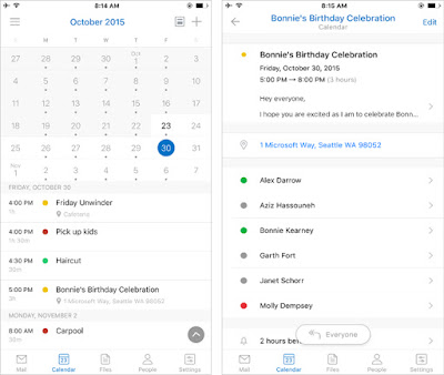 Outlook para ios calendario