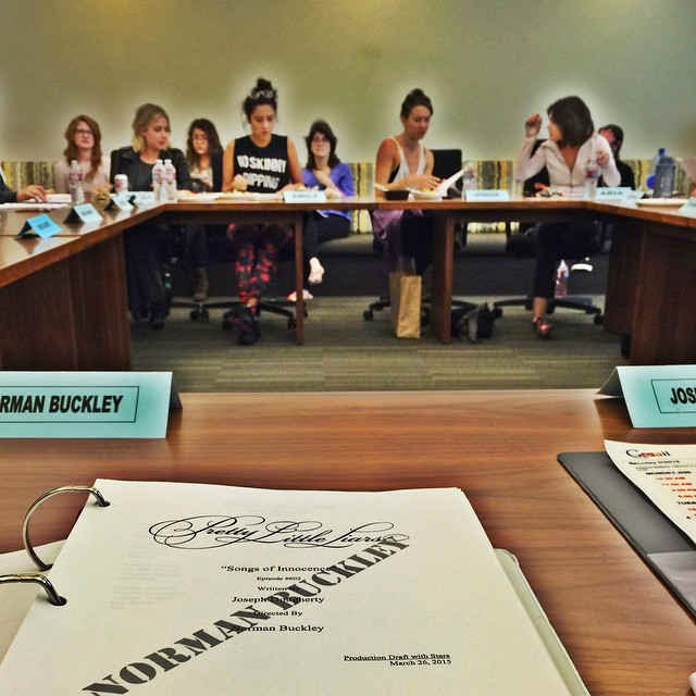 Ashley Benson, Shay Mitchell, Troian Bellisario and Lucy Hale PLL 6x02 table read