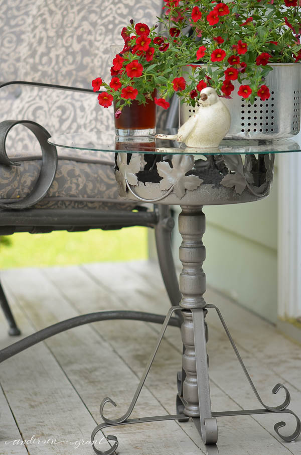 Learn how to transform a rusty old plant stand into a useful outdoor table.  |  www.andersonandgrant.com