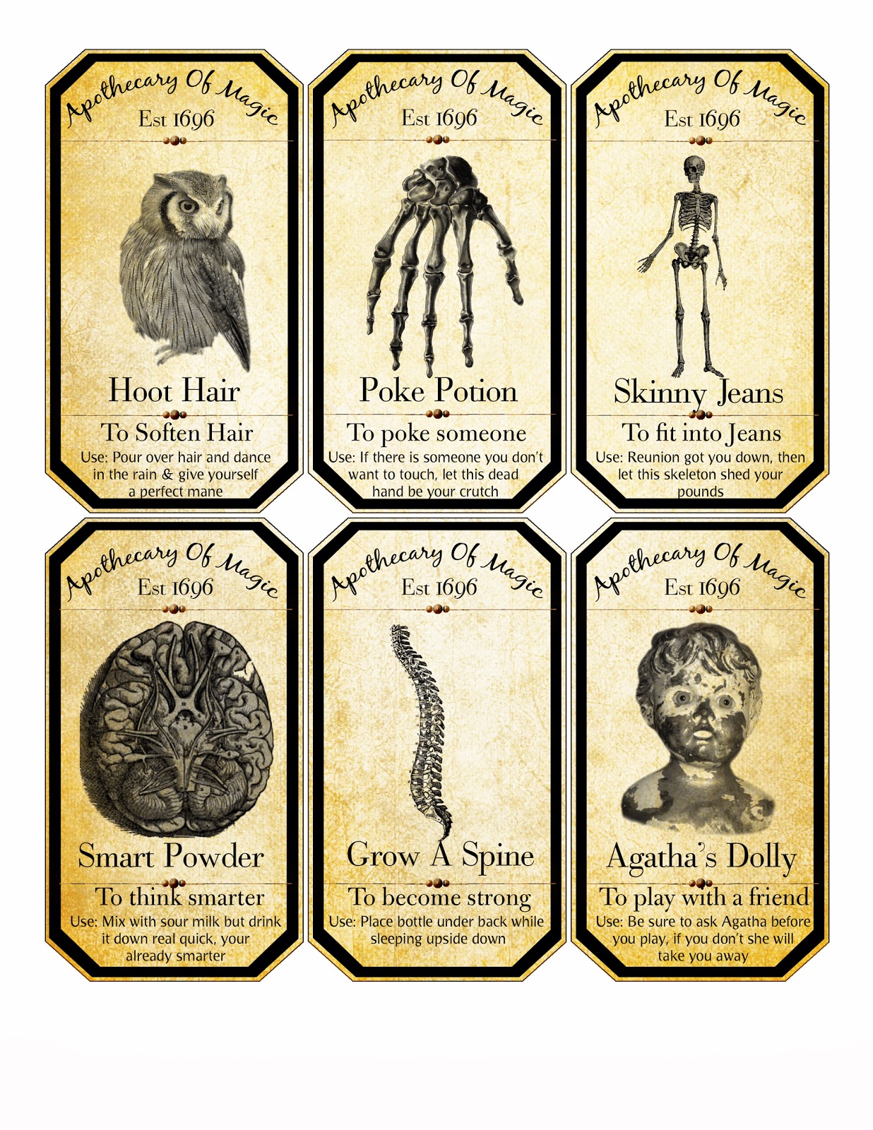 free halloween digital collage sheet apothecary labels